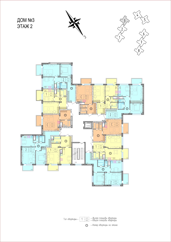 3 секция - 2 этаж. Планировки квартир friday village