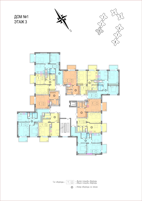 1 секция - 3 этаж. Планировки квартир friday village